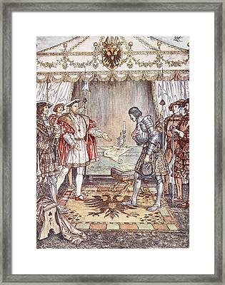 Bayard Presented To Henry Viii Framed Print by Herbert Cole
