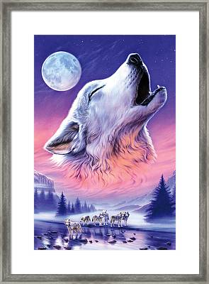 Baying To The Moon Framed Print by Andrew Farley
