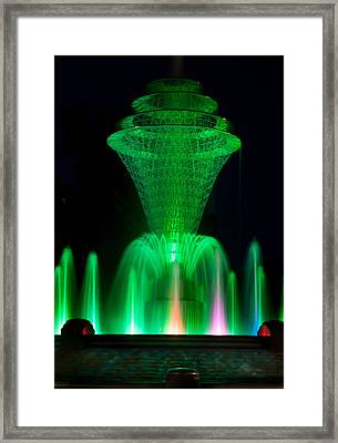 Bayliss Park Fountain Green Framed Print by Becky Meyer