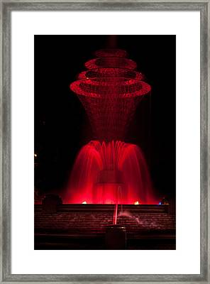 Bayliss Park Fountain Red Framed Print by Becky Meyer
