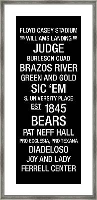 Baylor College Town Wall Art Framed Print by Replay Photos