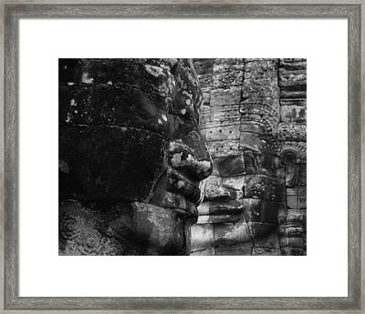 Bayon Faces Framed Print by Lauren Rathvon
