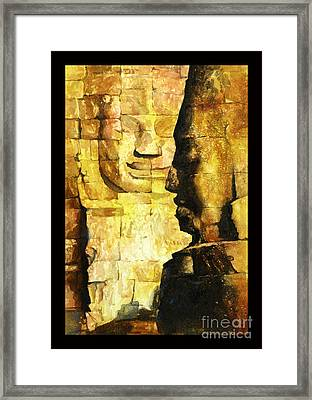 Bayon Khmer Temple At Angkor Wat Cambodia Framed Print by Ryan Fox