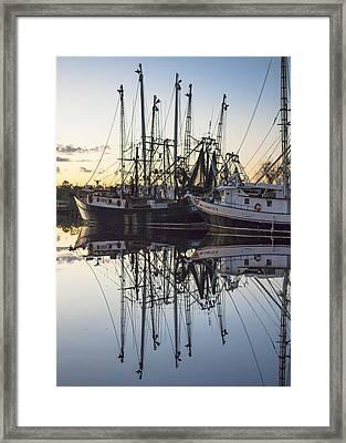 Bayou La Batre' Al Shrimp Boat Reflections 43 Framed Print