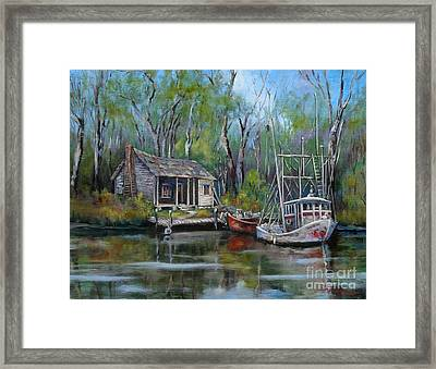 Bayou Shrimper Framed Print by Dianne Parks