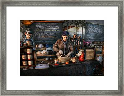 Bazaar - We Sell Tomato Sauce  Framed Print by Mike Savad
