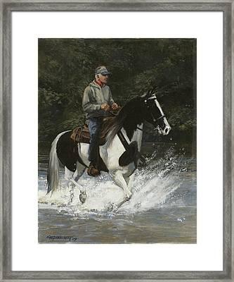 Big Creek Man On Spotted Horse Framed Print by Don  Langeneckert