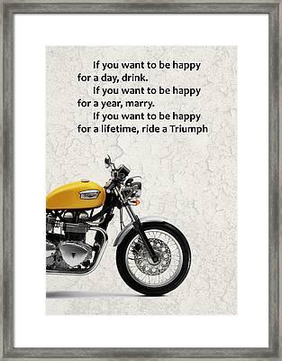 Be Happy Triumph Framed Print by Mark Rogan