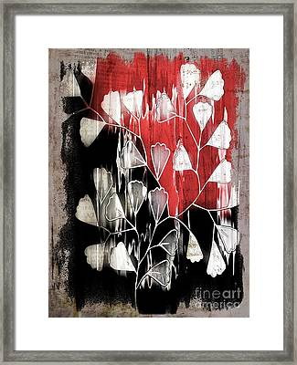 Be-leaf - Red Black A05bt3a Framed Print by Variance Collections