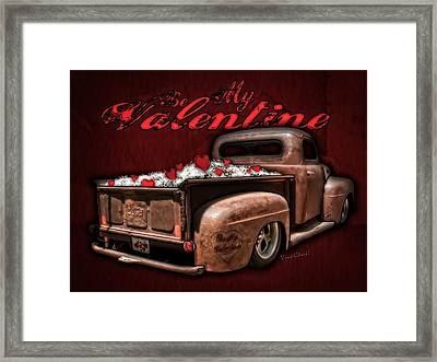 Be My Valentine With Hearts And Flowers Framed Print by Chas Sinklier