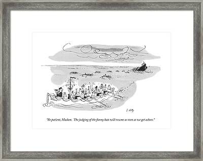 Be Patient, Madam.  The Judging Of The Funny Hats Framed Print by Bruce Petty
