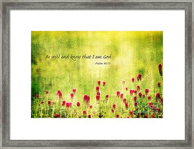 Be Still And Know That I Am God Framed Print by Scott Pellegrin