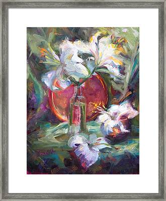 Be Still - Casablanca Lilies With Copper Framed Print