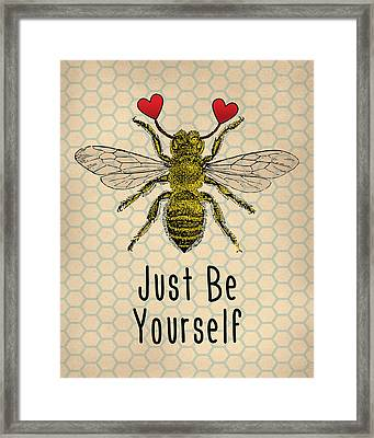 Be Yourself Cute Quotation Framed Print by Flo Karp