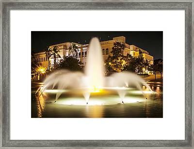 Bea Evenson Fountain At Night Framed Print
