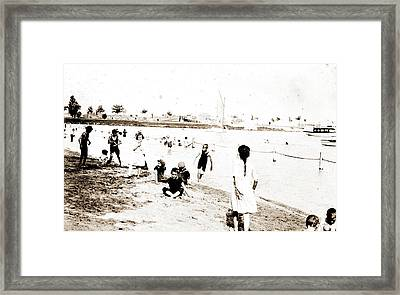 Beach & River Front, Detroit, Beaches, Children Playing Framed Print by Litz Collection