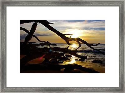 Beach 69 Hawaii At Sunset Framed Print