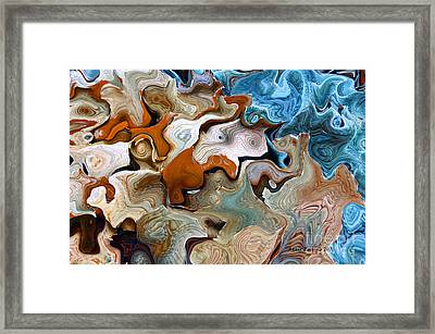 Framed Print featuring the digital art Beach Abstract Art by Annie Zeno