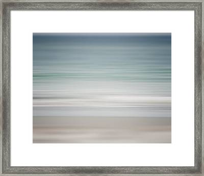 Beach Abstract In Shades Of Pale Blue And Grey Framed Print by Lisa Russo