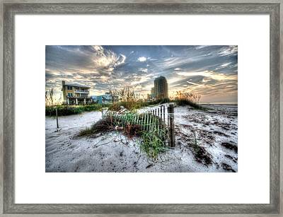 Beach And Buildings Framed Print