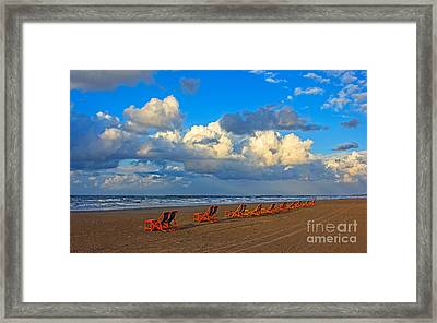 Beach And Chairs With Cloudy Sky Framed Print