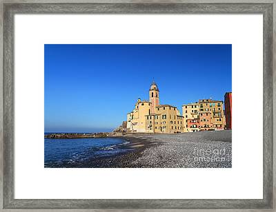 Framed Print featuring the photograph beach and church in Camogli by Antonio Scarpi
