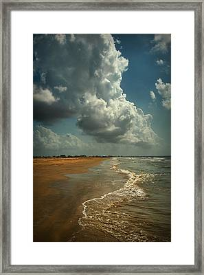 Beach And Clouds Framed Print by Linda Unger