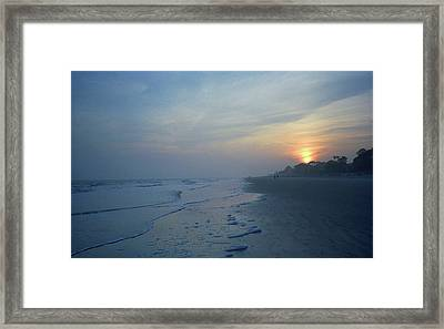 Beach And Sunset Framed Print