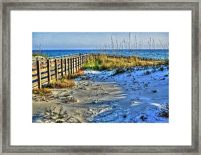 Beach And The Walkway Colored Framed Print