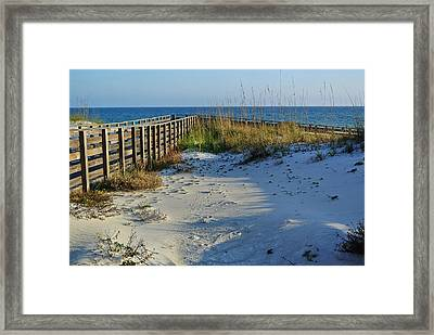 Beach And The Walkway  Framed Print by Michael Thomas