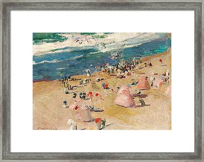 Beach At Biarritz Framed Print