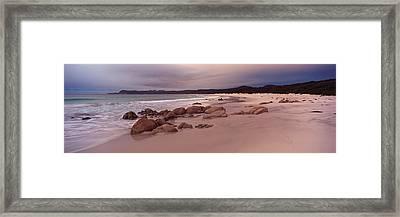 Beach At Dawn, Friendly Beaches Framed Print