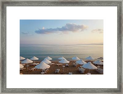 Beach At Pefkos, Near Lindos, Lardos Framed Print by Peter Adams