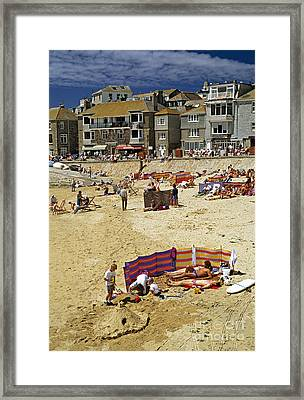 Beach At St Ives Cornwall Uk 1990 Framed Print by David Davies