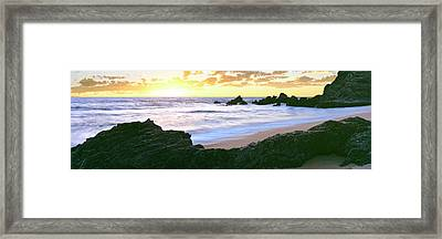 Beach At Sunset, Cerritos Beach, Baja Framed Print