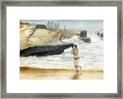 Beach At Sunset Cliffs Framed Print