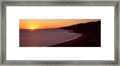 Beach At Sunset, Malibu Beach, Malibu Framed Print by Panoramic Images