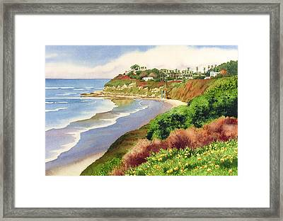 Beach At Swami's Encinitas Framed Print by Mary Helmreich