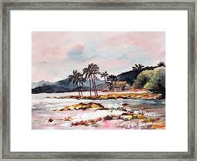 Beach At Waikiki Framed Print