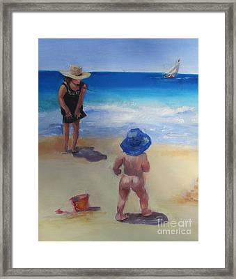 Beach Baby With Blue Hat Framed Print by Marge Casey