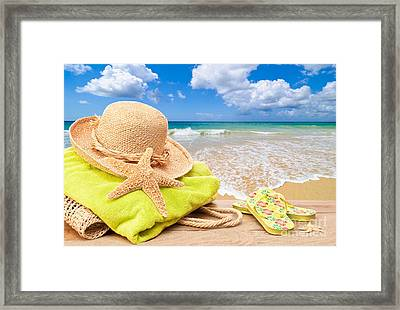 Beach Bag With Sun Hat Framed Print by Amanda Elwell
