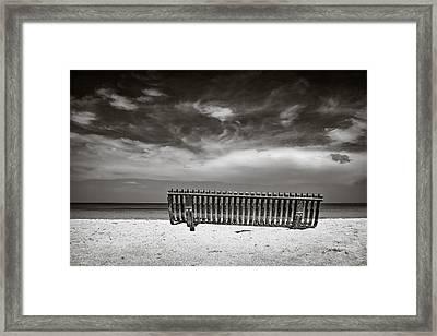 Beach Bench Framed Print by Dave Bowman