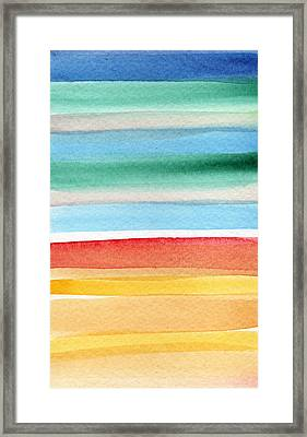 Beach Blanket- Colorful Abstract Painting Framed Print by Linda Woods