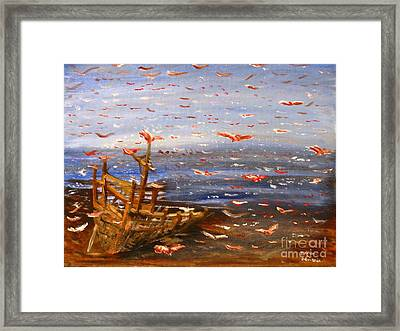Beach Boat And Birds Framed Print