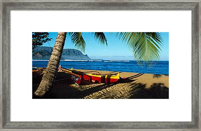 Beach Boat Hanalei Bay Kauai Hi Usa Framed Print by Panoramic Images