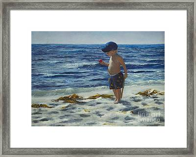 Framed Print featuring the painting Beach Boy by Jeanette French