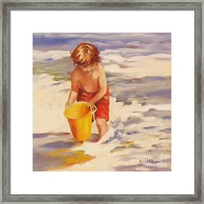 Beach Boy Framed Print by Mary Hubley
