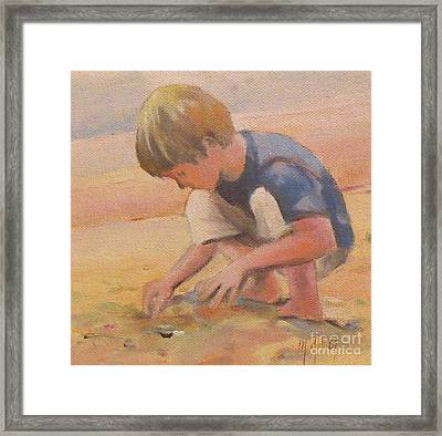 Beach Bum Boy In The Sand Framed Print by Mary Hubley