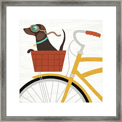 Beach Bums Dachshund Bicycle I Framed Print