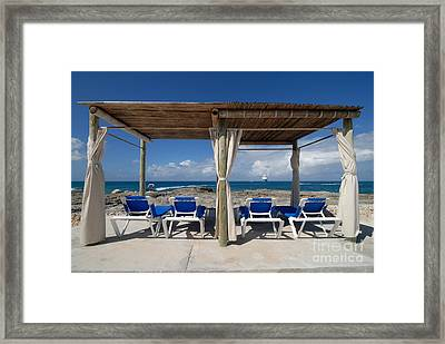 Beach Cabana With Lounge Chairs Framed Print by Amy Cicconi